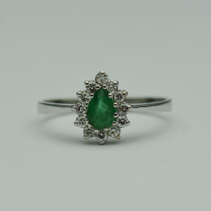 Inel de logodna cu smarald si diamante (cod 1477)