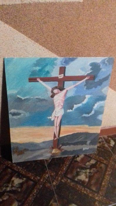 pictura ulei ,,Isus pe cruce''