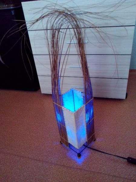 Ретро нощна лампа,лед осветление,декорация с естествена кожа.