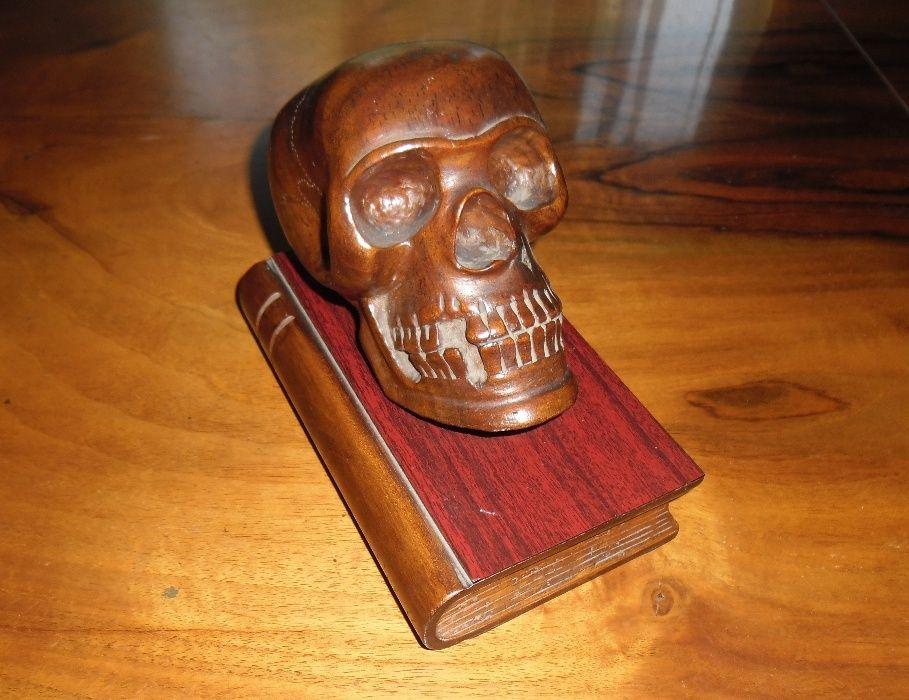 """Sculptură lemn """"Craniu"""", din anii 1970"""