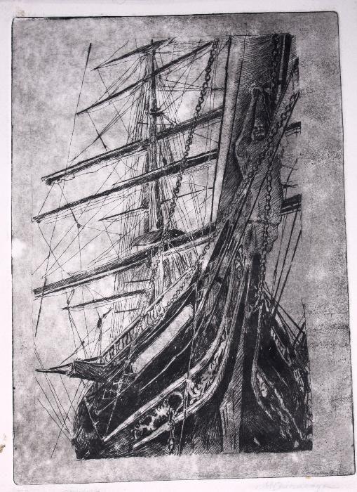 Gravura reprezentand corabie