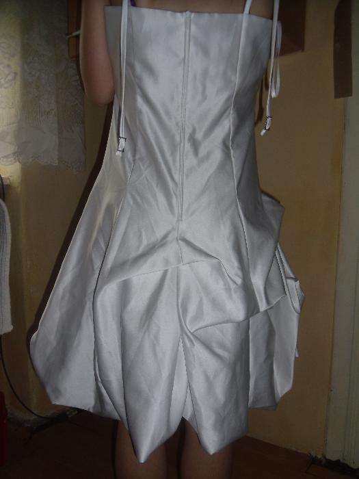 rochie alba scurta,cununie,stare civila,mireasa,ocazii din saten