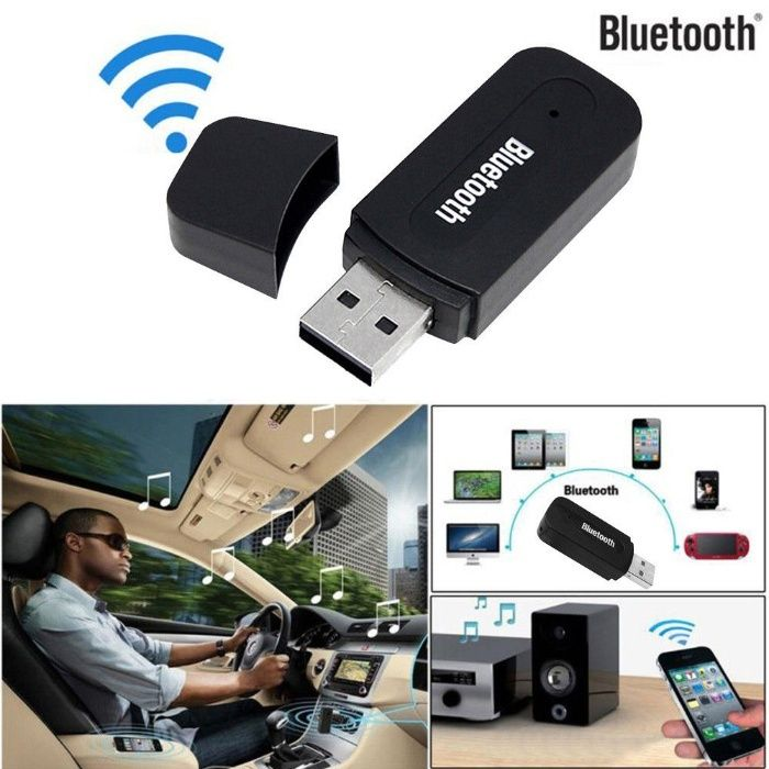 Bluetooth Wireless Aux Audio Stereo Receiver Adapter+Mic PC New
