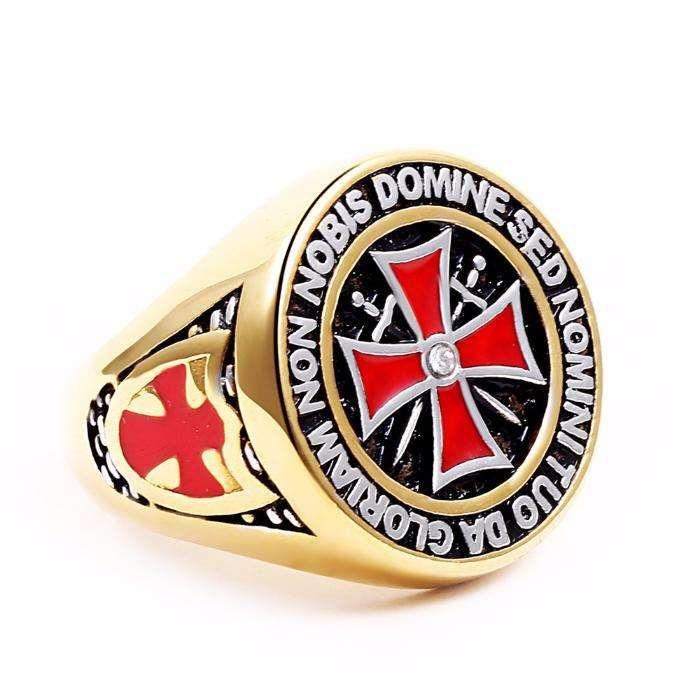 Inel pentru barbati din otel inoxidabil cu simbol Crucea Cavalerilor T