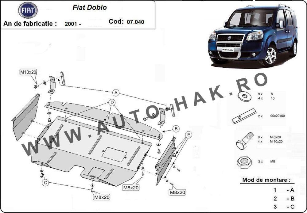 Scut motor metalic Fiat Doblo 2001-2010 - otel 2mm