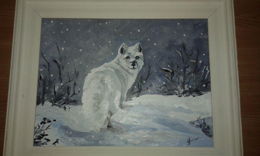Tablou vulpe polara - pictuta ulei
