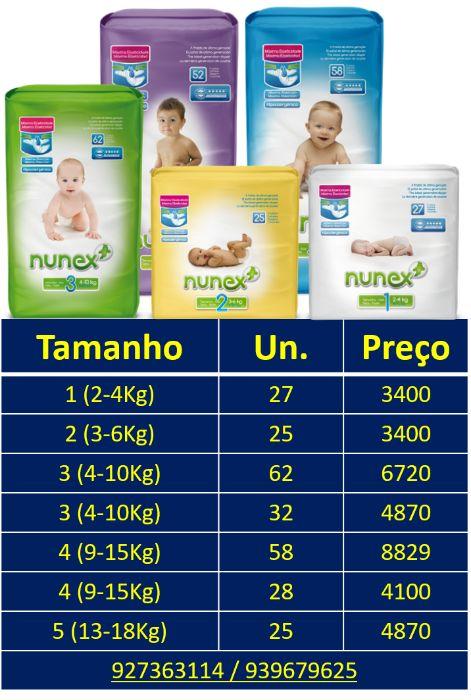 Promoção Fraldas Nunex t1, t2, t3, t4 e t5