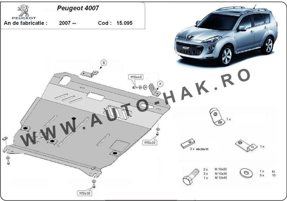 Scut motor metalic Peugeot 4007 2007-prezent - otel 2mm