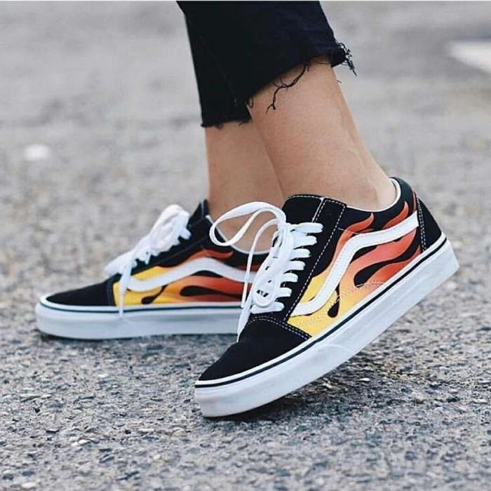 Vans Oldskool Black White Flame