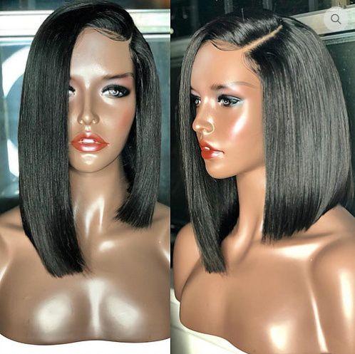 Peruca de franja lateral de cabelo virgem brasileiro