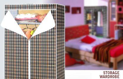 Dulap textil pliabil pentru umerase +1 polita, husa plasticata