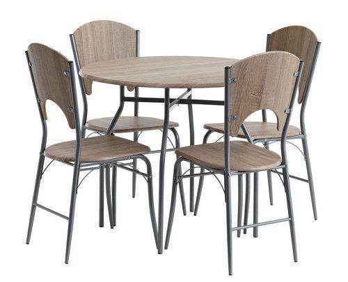 set dinning JYSK- Masă 90 cm + 4 scaune THYHOLM