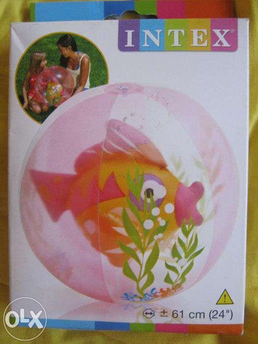 Minge gonflabila de plaja Aquarium Beach Ball, roz, 61cm, Intex, NOUA