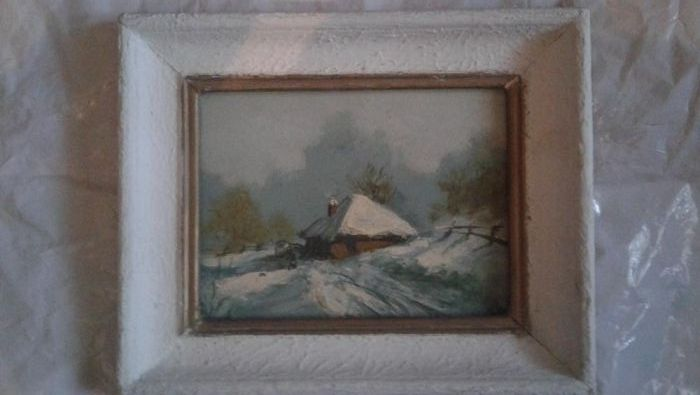 tablou pictat peisaj de iarna,rama frumoasa