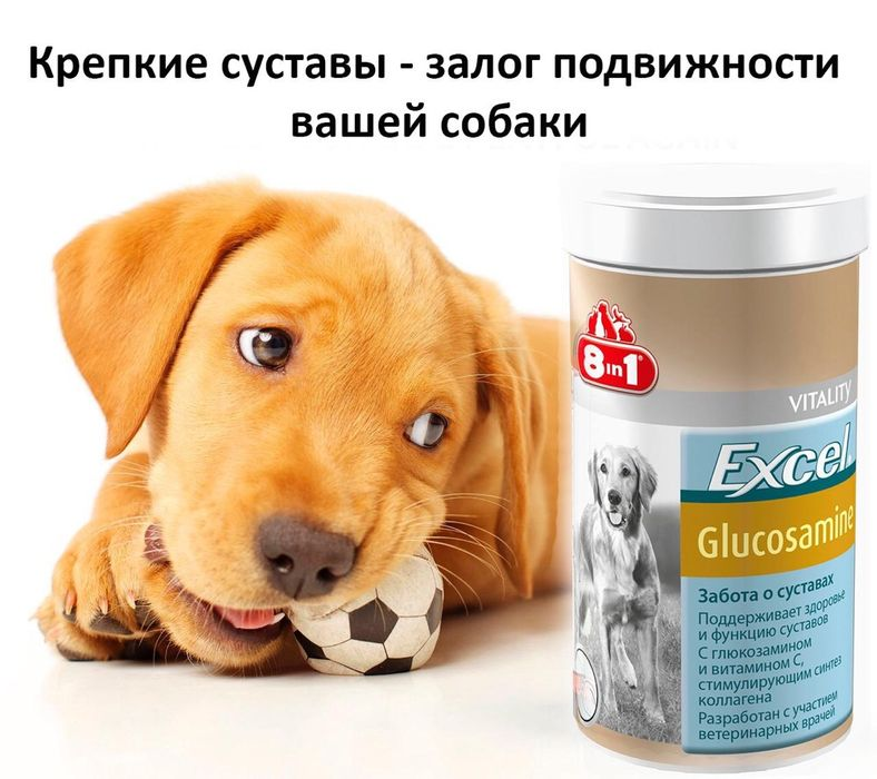 Витамины Excel 8 в 1 для собак!Glucosamin!