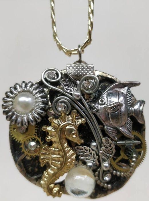 Уникални ръчно изработени бижута медальони и гривна в стил Steampunk