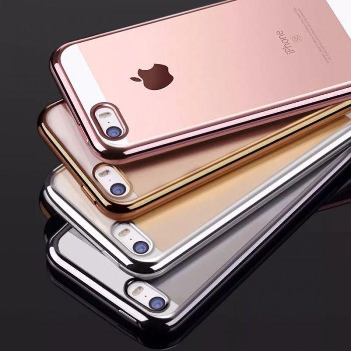 Huse silicon cu margini metalizate Iphone 6 / 6s / 6 Plus / 7 / 7 Plus