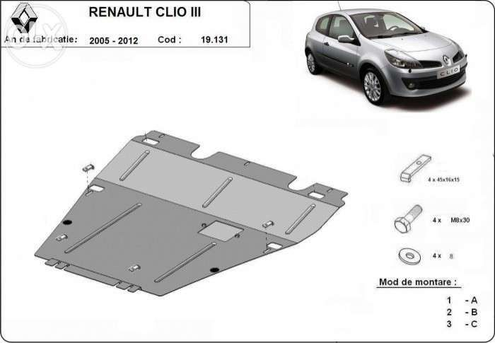 Scut metalic pentru motor Renault Clio III 2005-2012 - otel 2mm