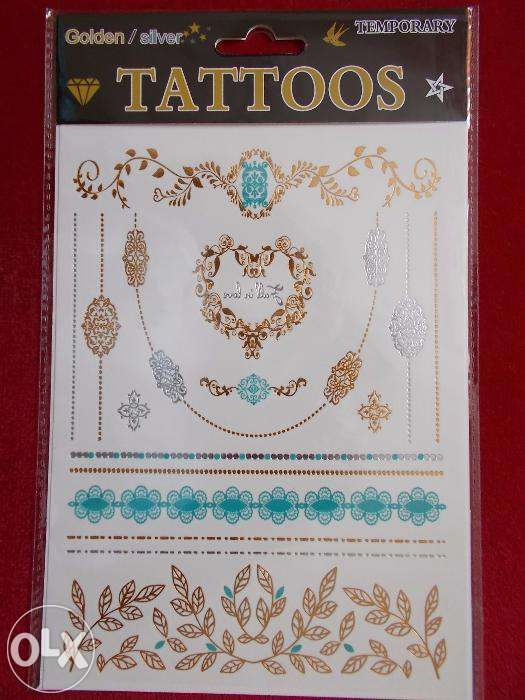 19Tatuaje temporare aurii argintii tattoos gold format mare