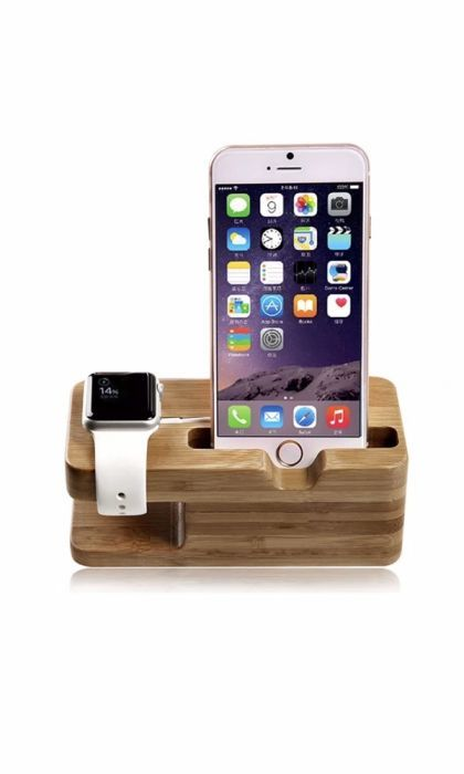 Dock / Stand iPhone 6,6S, 7,8, X si Apple Watch 4, 3, 2, 1 LEMN BAMBOO