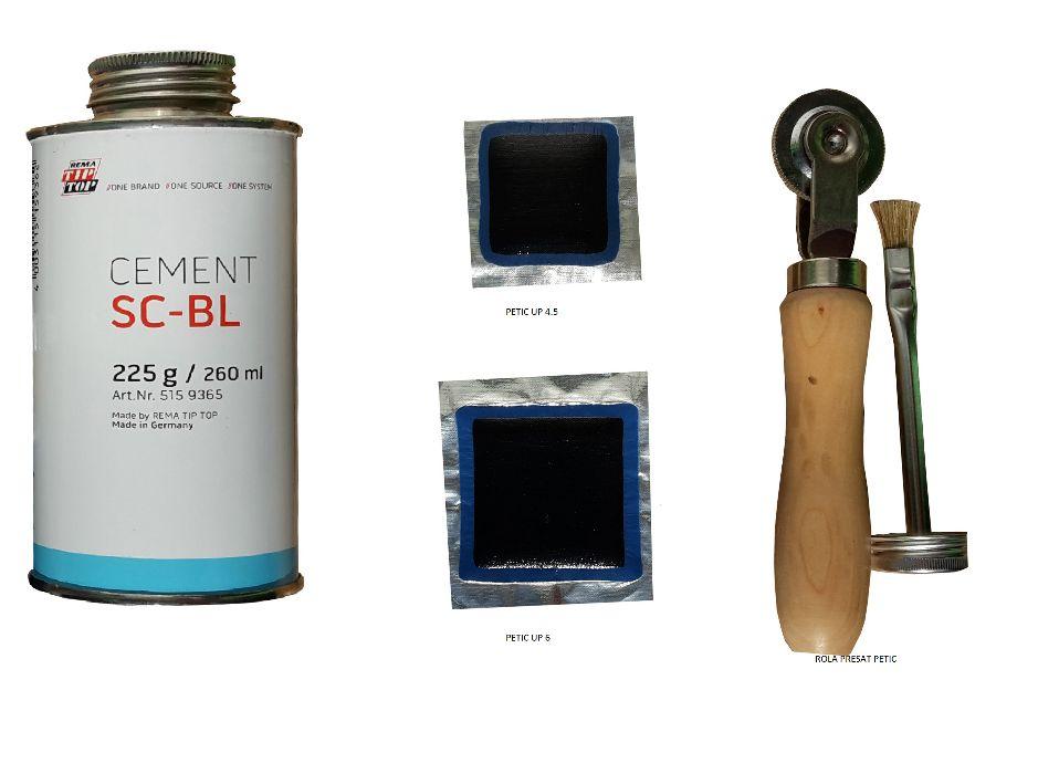 Set petice si solutii pentru reparat anvelope si camere de aer.