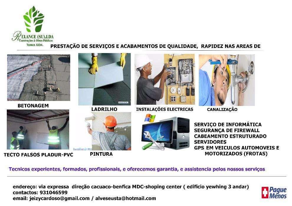 Prestação de serviços em acabamentos e serviços informáticos