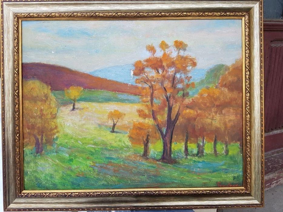 """""""Toamna pe deal"""",Tablou superb al pictorului Geo Cardas , u/p, cu ramă"""