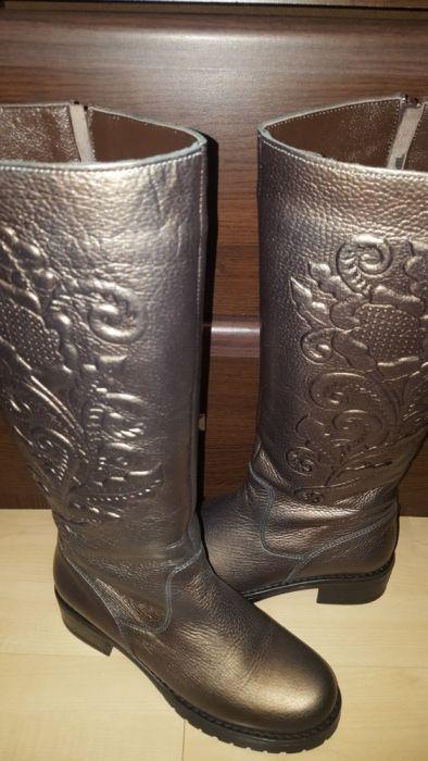 Cizme piele naturală bronze metalizat 36