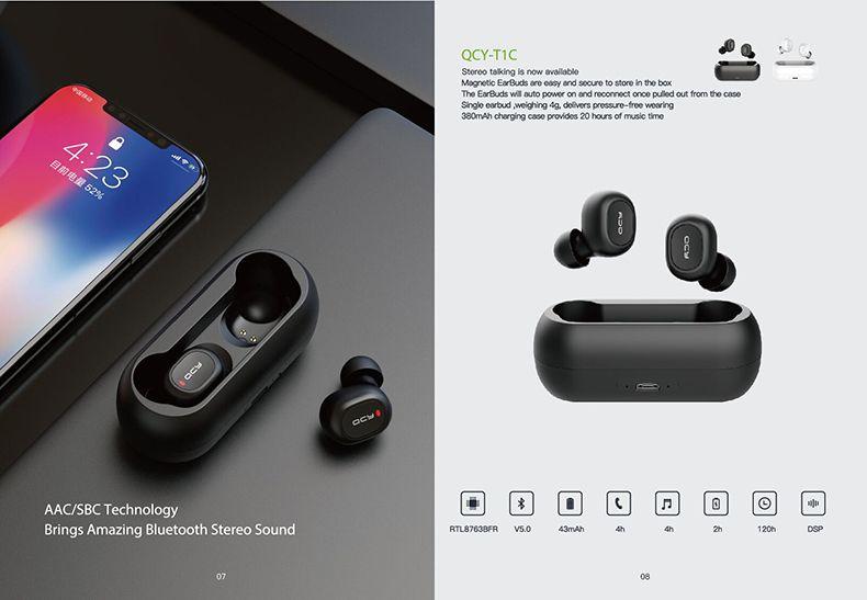 Bluetooth-гарнитура QCY T1 Mini Беспроводные Наушники