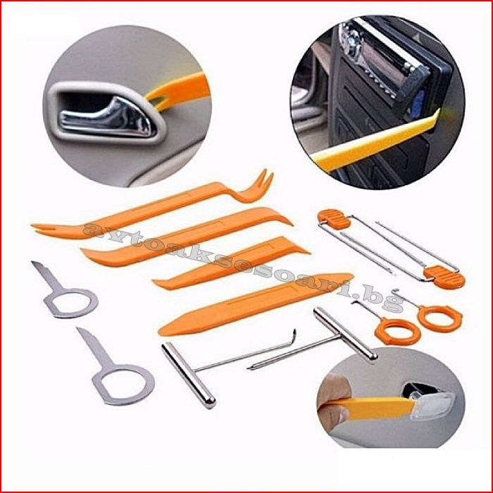 Комплект инструменти за демонтаж на авто радио, кори на врати и табло