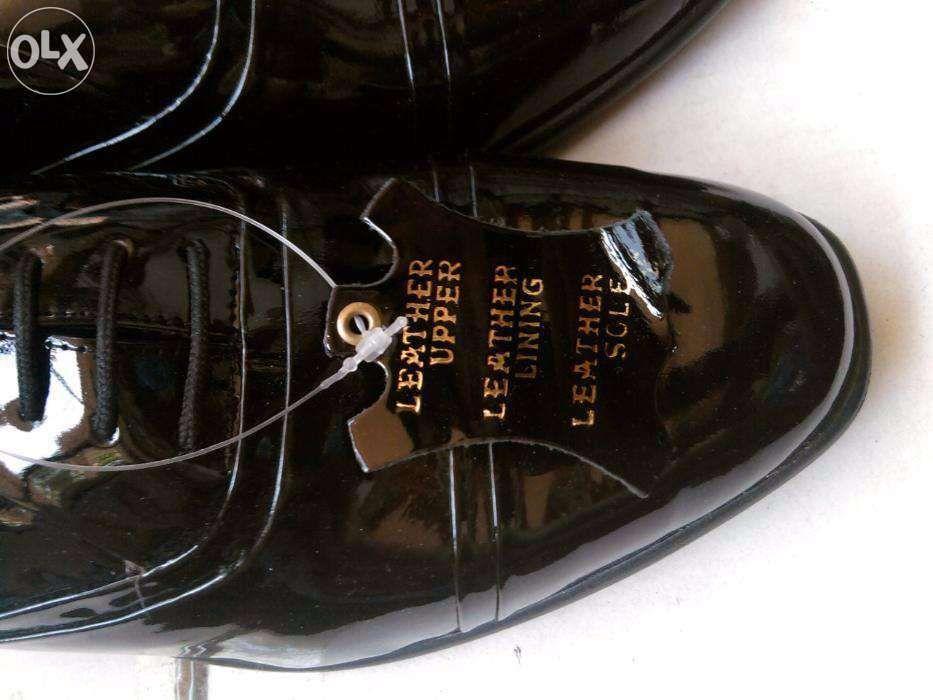 Pantofi barbati lac noi piele neagra englezesti: nunta, ocazii nr39,42