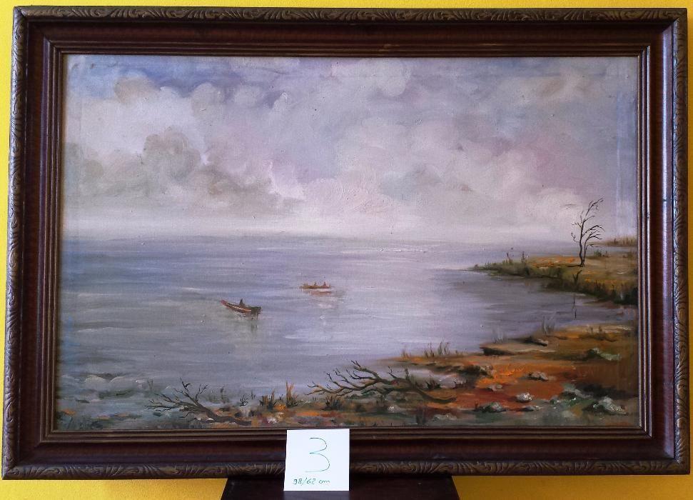 Tablou pictura - Peisaj cu apa si barci