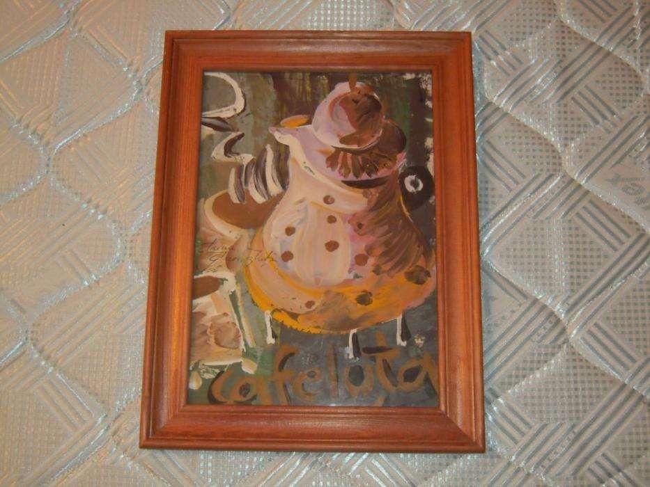 Pictura semnata Irina Gheorghita - CAFELUTA dimensiuni 20x30 cm.