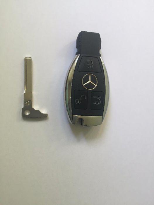 Cheie Mercedes cromata NOUA - contine placa electronica si lamela