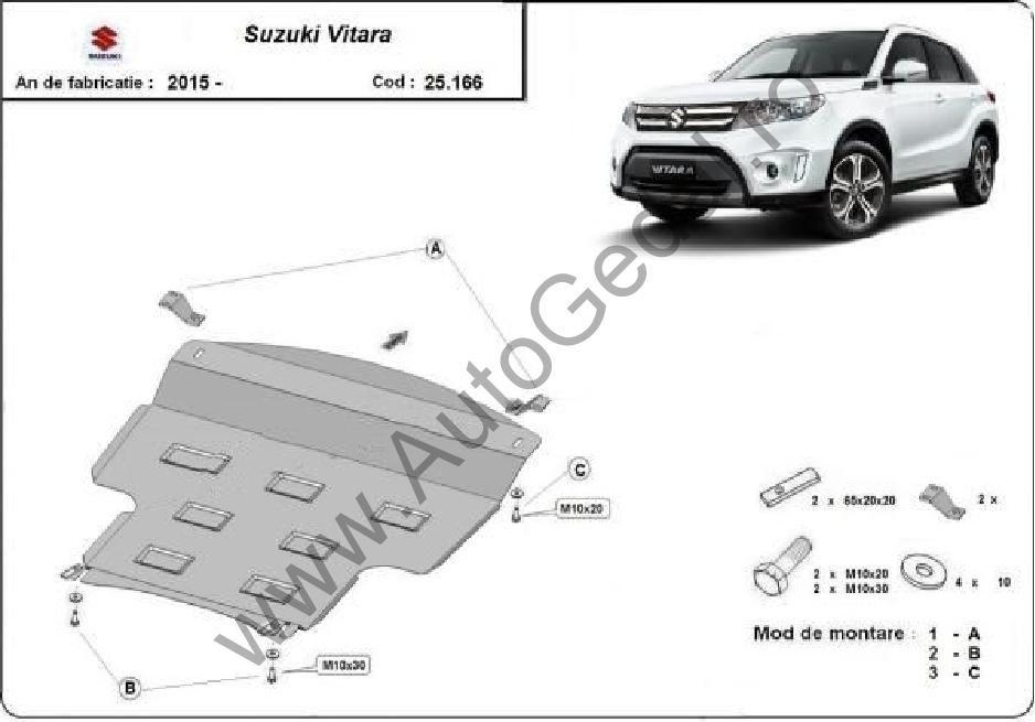 Scut motor metalic Suzuki Vitara 2015-prezent- otel 2mm