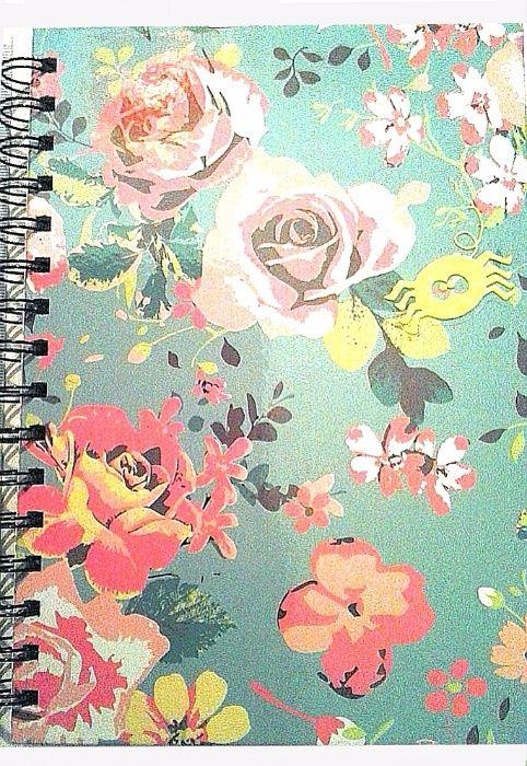 Caiet/carnetel A5, coperta cartonata, lucios, fosforescent - flori