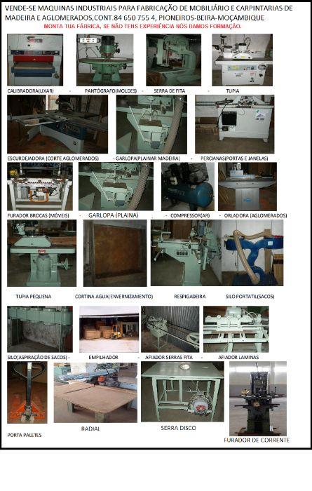 Vende maquinas industriais para fabricação de mobiliário e carpintaria