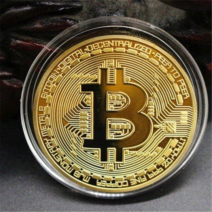 Bitcoin монета - позлатена колекционерска Биткойн