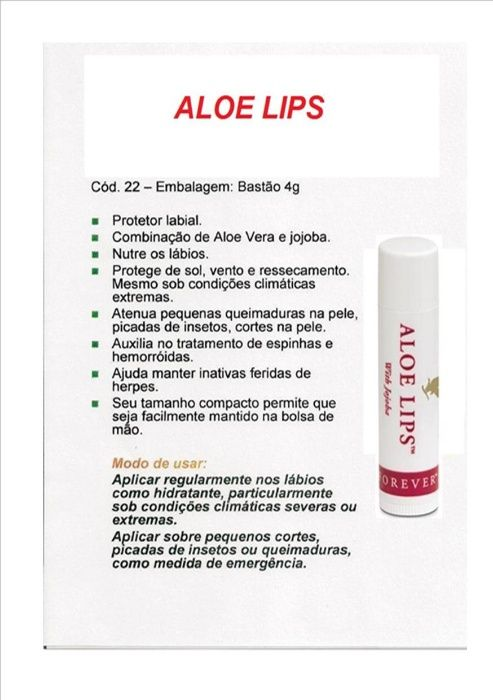 Forever Aloe Lips-acalma, suaviza e hidrata os lábios rachados e secos