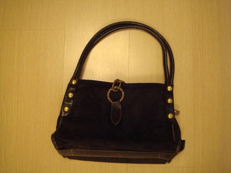 Нова черна чанта от еко кожа и еко велур с месингови елементи