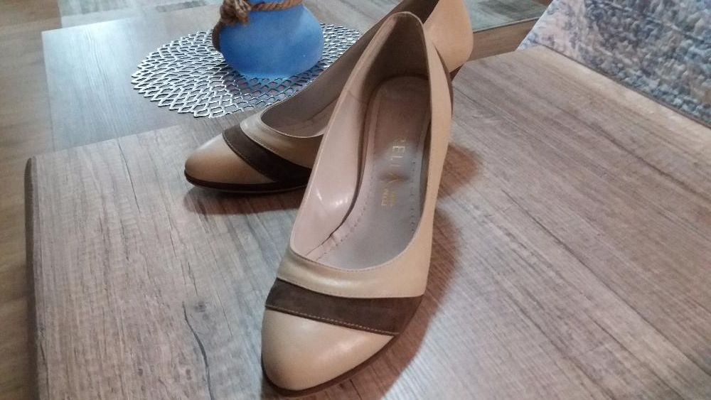 Pantofi piele bej cu maro,41