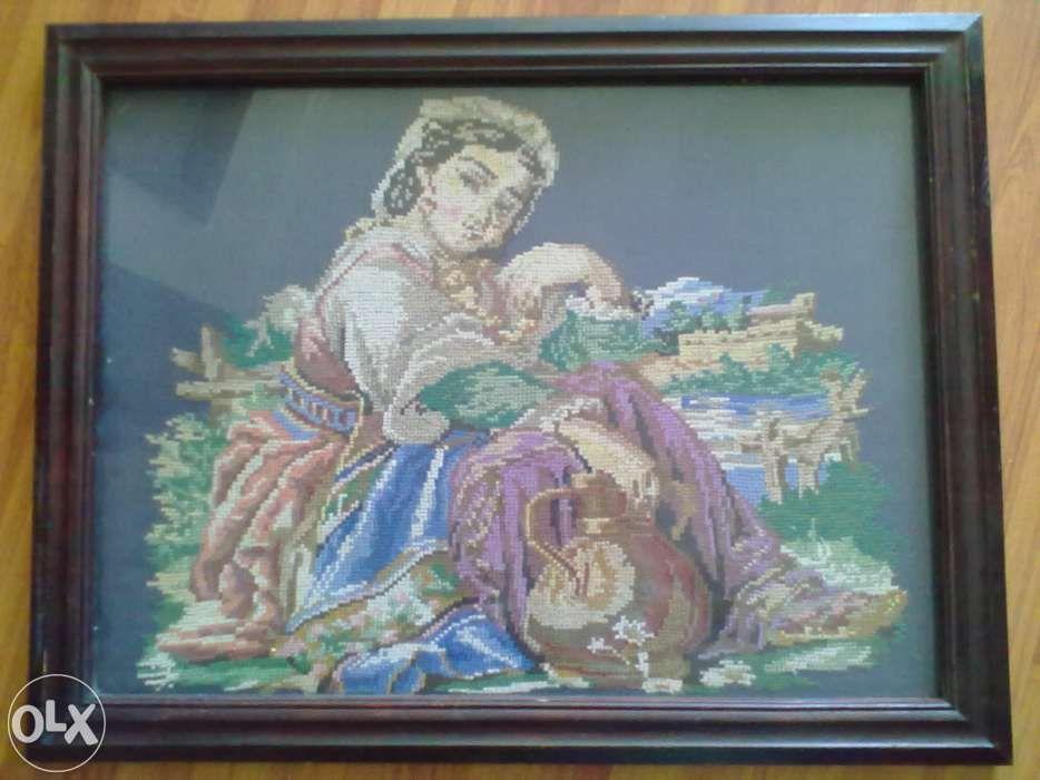 """Картина вышитая крестиком """"Девушка с кувшином"""""""
