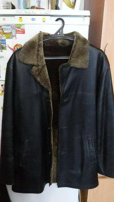Мужская кожаная зимняя удлиненная куртка-френч