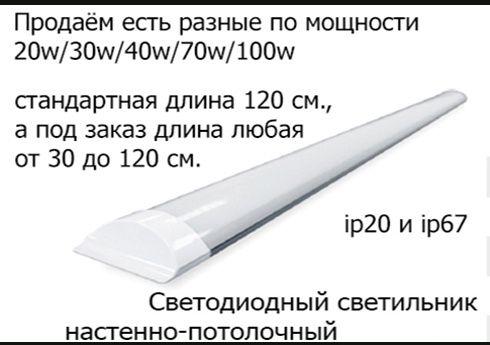 Мощный яркий настенно потолочный светодиодный светильник 100 ватт и др