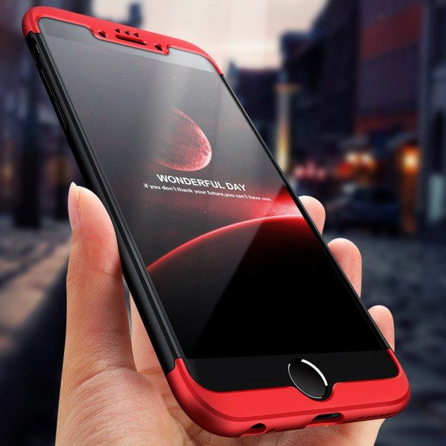 Husa Apple iPhone 7 Plus, Elegance Luxury, 360° 3in1 Negru-Rosu