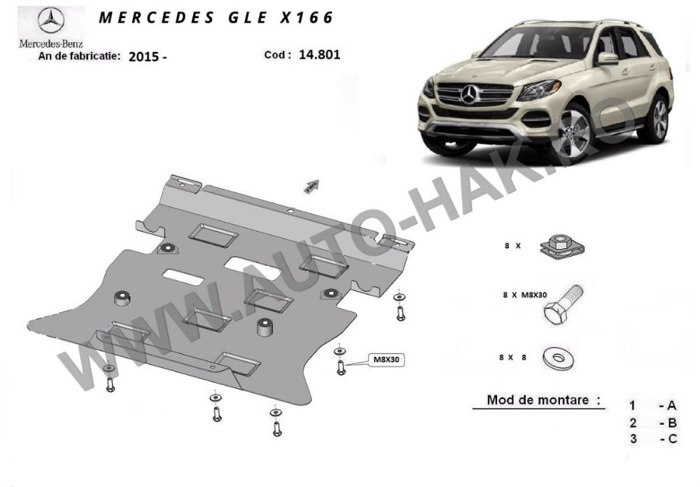 Scut motor metalic Mercedes GLE X166 2015-prezent - otel 2,5mm