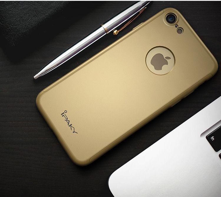 Husa iPaky cu protectie 360º pentru iPhone 8 AURIU cu folie