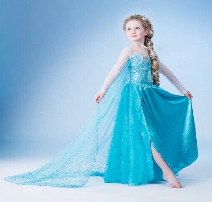 Rochie printesa Elsa din Frozen (Regatul de gheata) cu trena