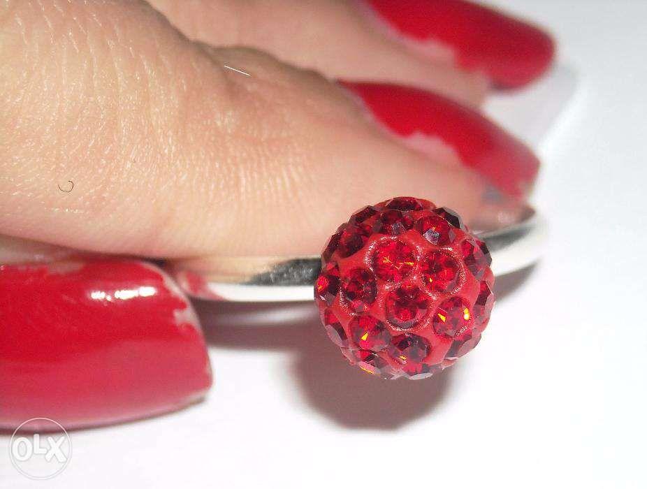 L28,inel argint 925,nou/marcat, bila cristale swarovski rosii