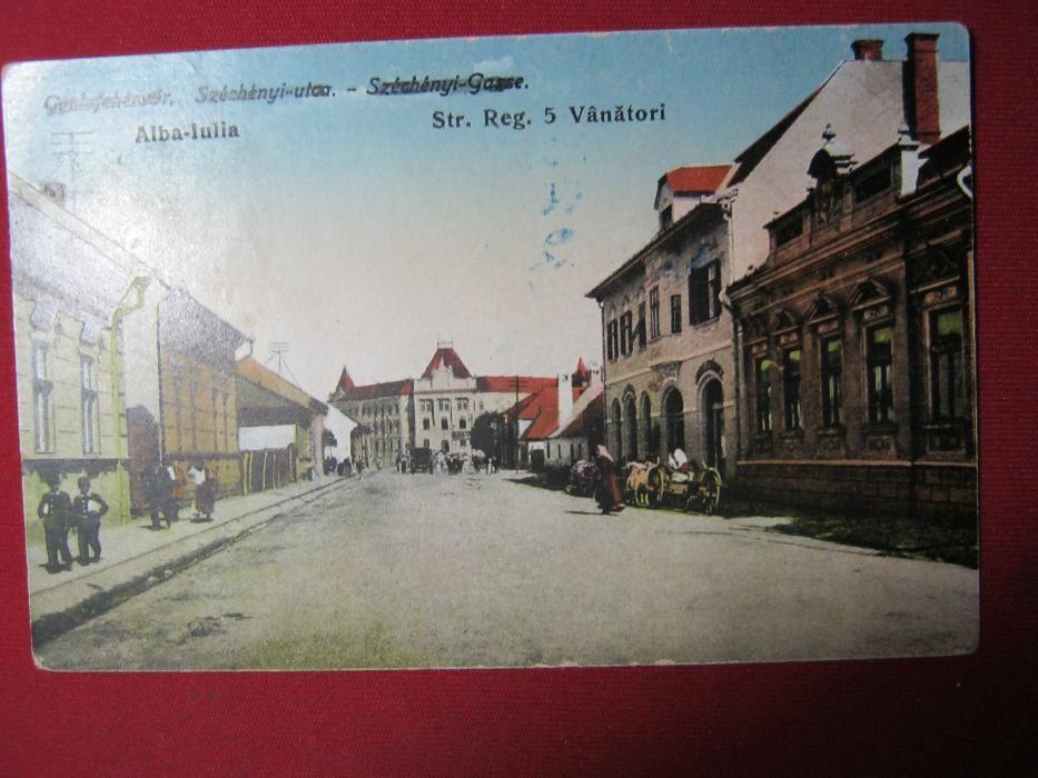 Ilustrata veche,Alba iulia,Str Reg. 5 vanatori,1917.